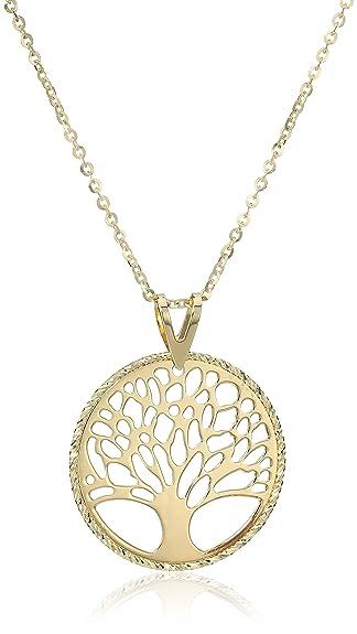 Amazoncom 10k Yellow Gold Tree of Life Pendant Necklace 18 Jewelry
