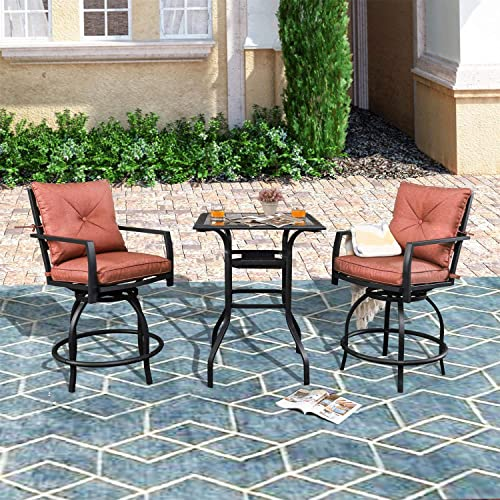 PatioFestival Outdoor Bar Stools Bar Height Patio Chairs Swivel Bar Stool Patio Furniture Tall High Counter Chair Bistro Set with Glass Top Table Back Padded Cushion for Balcony Pub