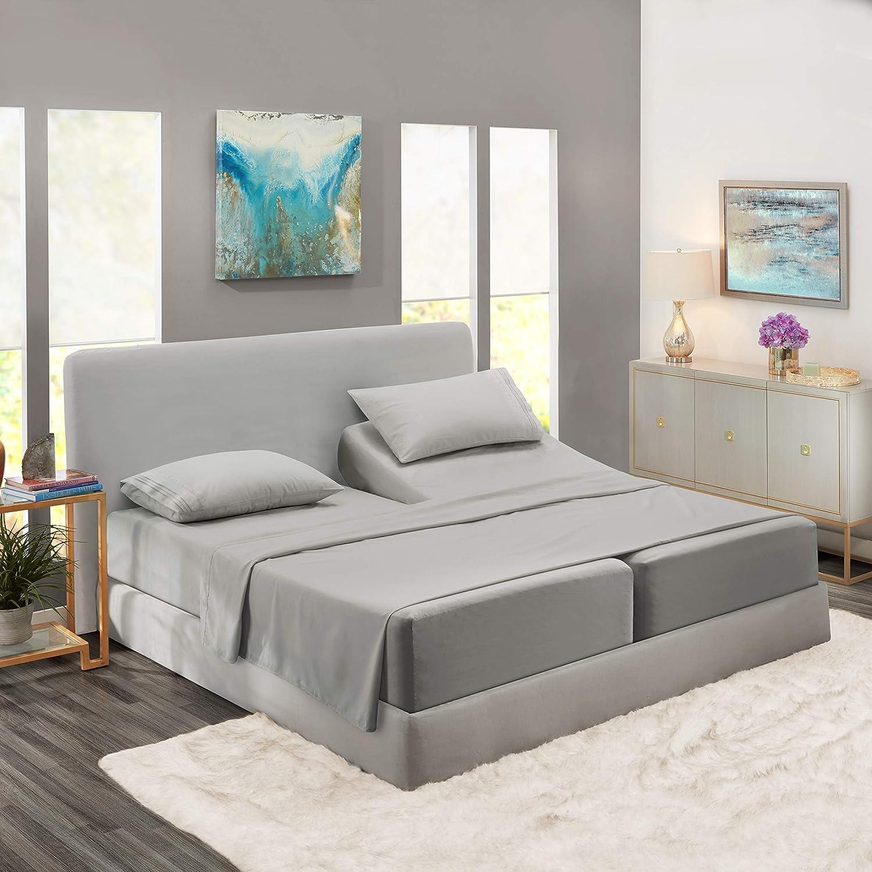 Split King Sheets - Bed Sheets Split King Size – Deep Pocket Hotel Sheets – Cool Sheets - Luxury 1800 Sheets Hotel Bedding Microfiber Sheets - Soft Sheets – Split King - Silver Gray