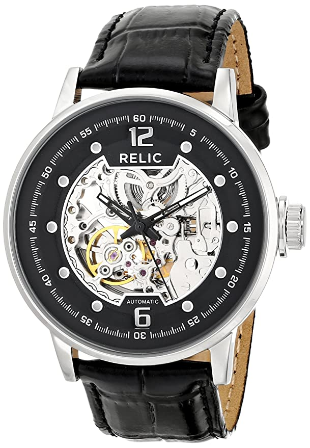 Amazon.com: Relic Mens Damon Automatic Silver-Tone and Black Leather WatchZR77224: Watches