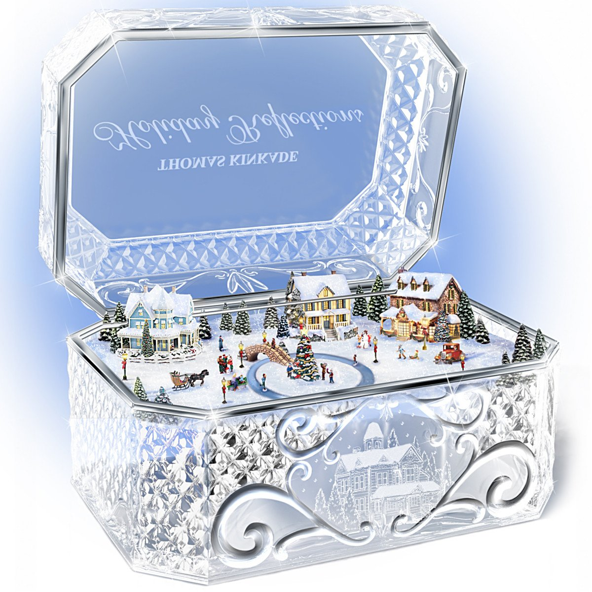Thomas Kinkade Holiday Reflections Crystal Music Box by The Bradford Exchange by Bradford Exchange