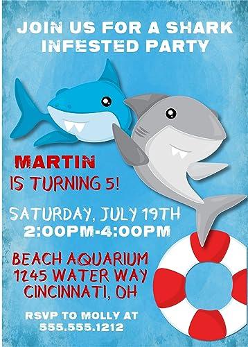 amazon com shark birthday party invitations handmade