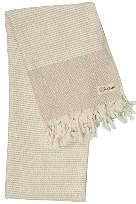 Amazon.com: Bersuse 100% Cotton - Hierapolis Turkish Towel - Bath Beach Fouta Peshtemal - Handloom Diamond Weave Pestemal - 37X70 Inches, Beige (Set of 6): ...