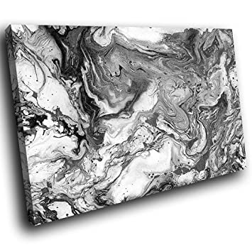 Schon Aab1700p Gerahmt Kunstdruck Auf Leinwand Bunt Art Wand, Schwarz Weiß Grau  Paint U2013 Modern Abstrakt