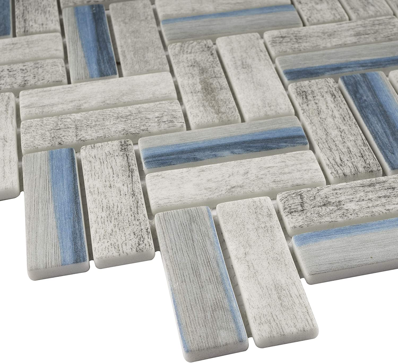 - Amazon.com: TREGLG-09 Recycle Glass Wooden Look Blue Herringbone