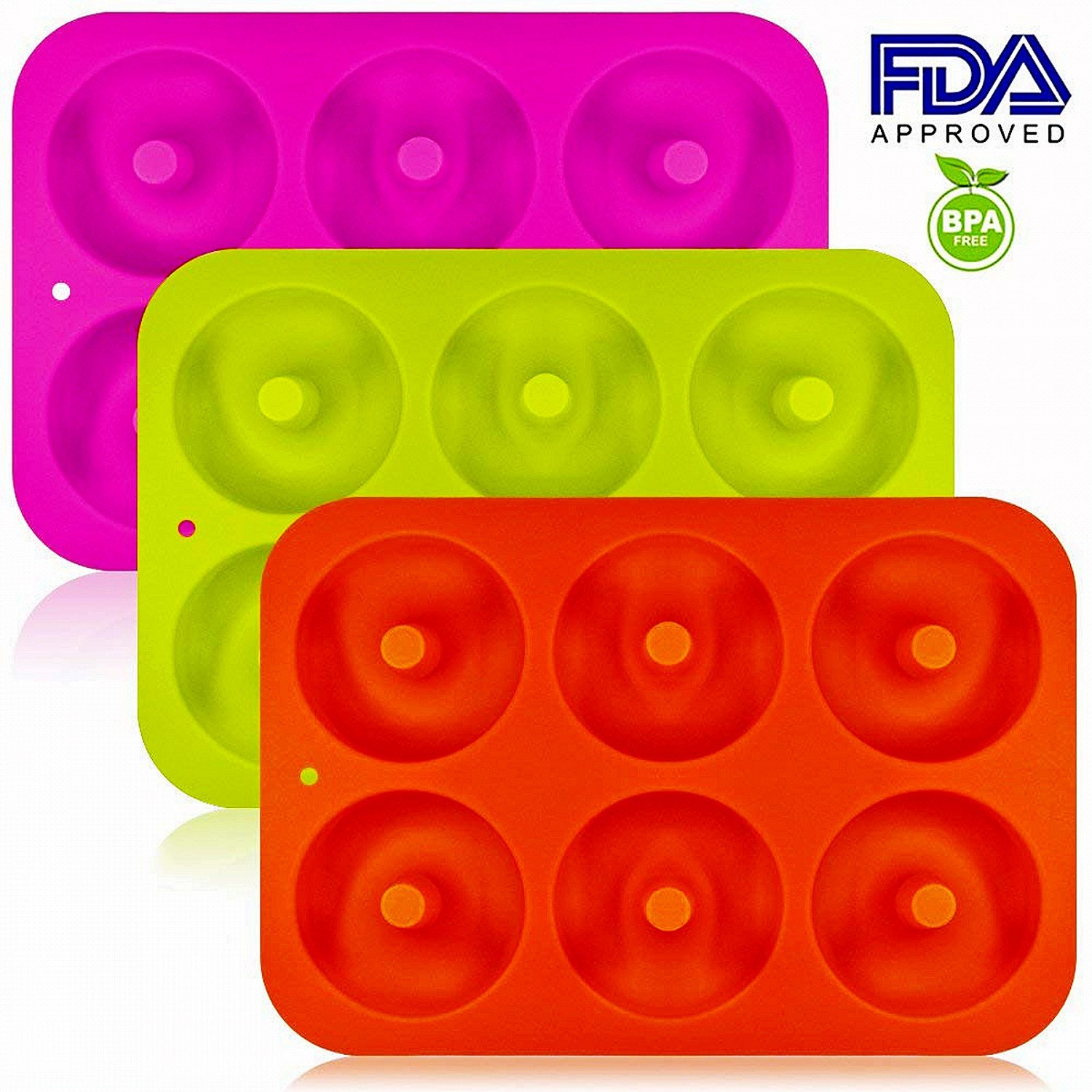 OKSANO 3 Pack Donut Molds, Silicon Cake Mold 6 Cavity Non-Stick Safe Baking Tray Maker Pan Heat Resistance for Cake Biscuit Bagels Muffins-Orange, Rose Red, Green by OKSANO (Image #2)