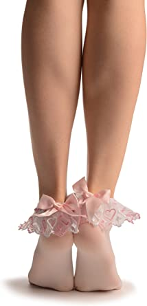 White Opaque Frilly Ruffle Top Lace Trim /& Hot Pink Satin Bow Ankle Socks O//S
