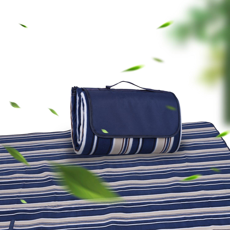 C/ésped plegable con mango de soporte impermeable port/átil 200 x 200 cm Sekey Picnic Manta Verde