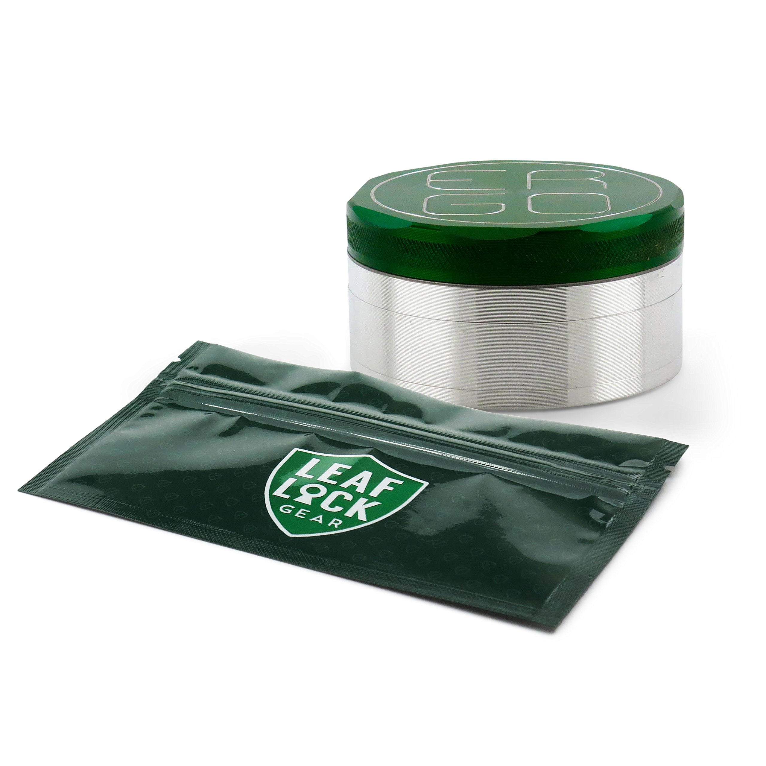 ERGO 4-Piece 90mm Grinder (Green) with Leaf Lock Gear Spill Proof Pouch
