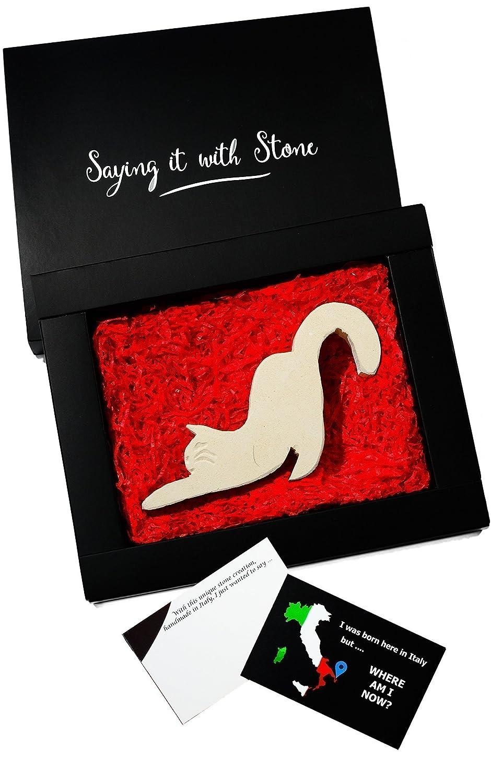 Gatto fatto a mano in Italia - Inclusa una confezione regalo ed un bigliettino - Antica e rara pietra italiana - Regalo per amanti dei gatti ♥