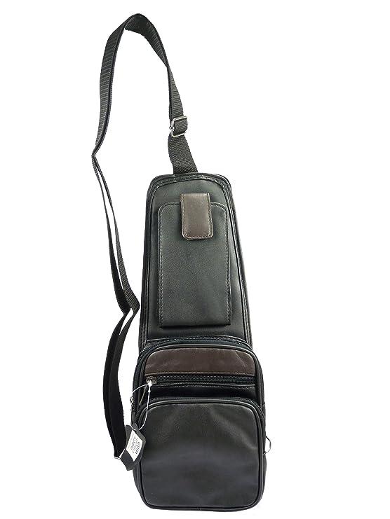 Sacoche Pochette Holster porté Travers ambidextre Bicolore Cuir Noir
