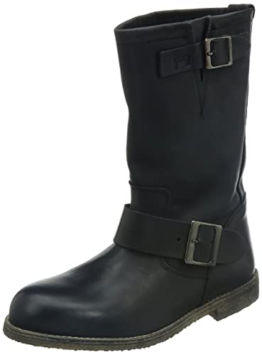 1112cb6f74a8ee Buffalo London Damen 13980 WASHED LEATHER Biker Boots Schwarz (BLACK 01) 38  EU