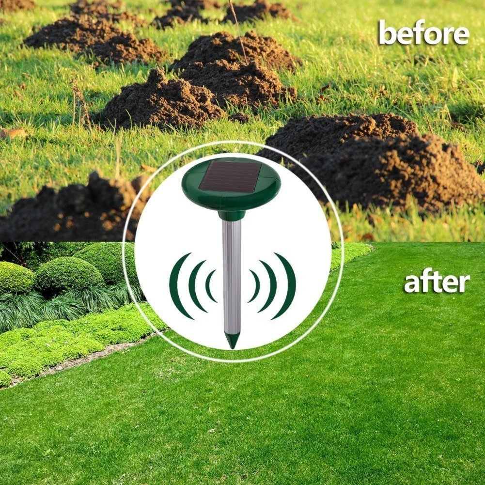 Outdoor Pest Repeller,Ultrasonic Mole Repellent 2 PCS Solar Waterproof Ultrasonic Pest Repeller for Repel Mole Voles Gopher Mice and Rats Rodent Yard Lawn Garden Repellent Pest Ultrasonic Repellents