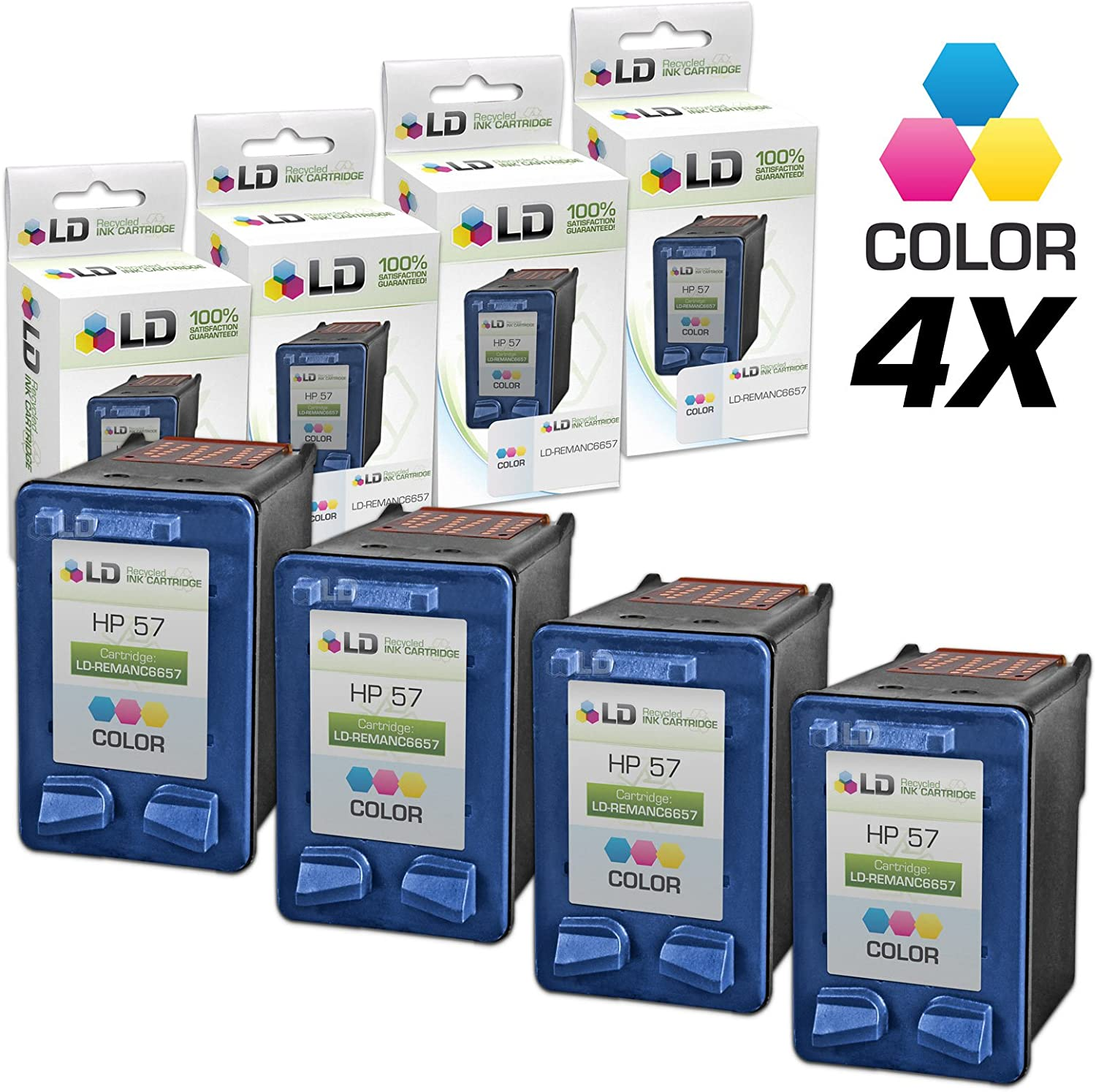 LD Remanufactured Ink Cartridge Replacement for HP 57 C6657AN (Color, 4-Pack)