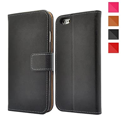 new style a6c44 4d4eb Apple iPhone Genuine Leather Case, Premium Leather Wallet Case with  [Kickstand] [Card Slots] [Magnetic Closure] Flip Notebook Cover Case for  (iPhone ...