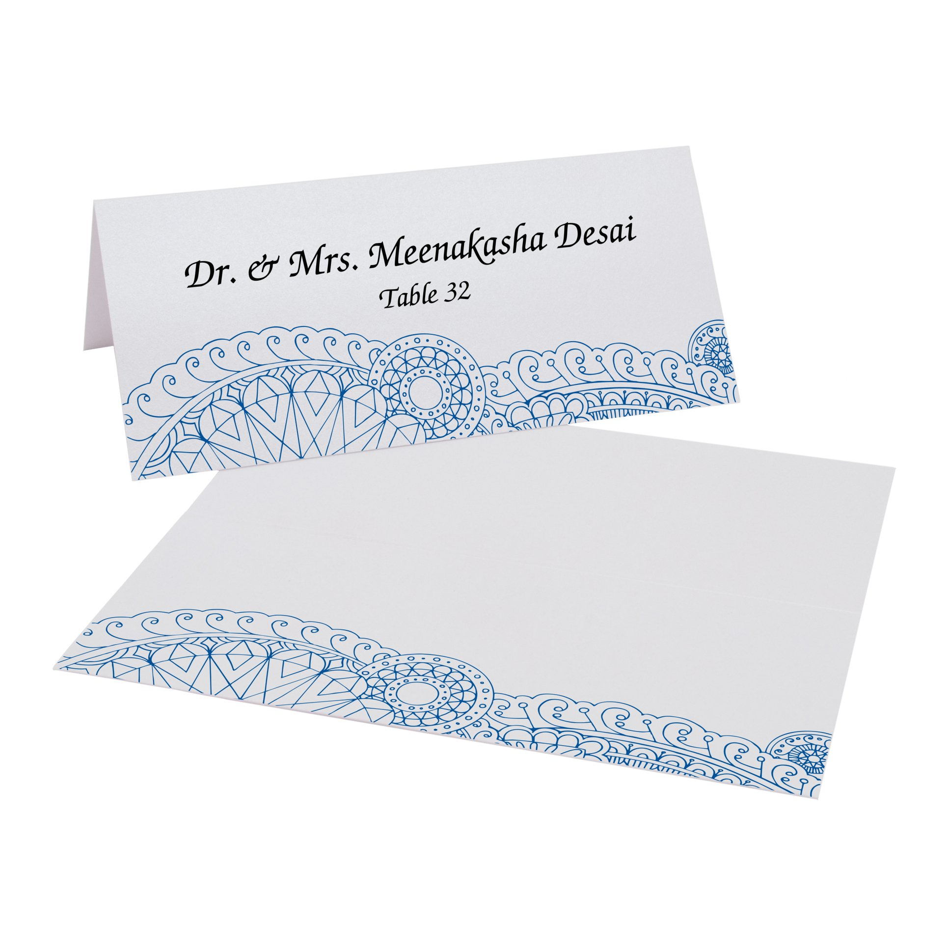 Bottom Paisley Place Cards, Pearl White, Royal Blue, Set of 375 by Documents and Designs