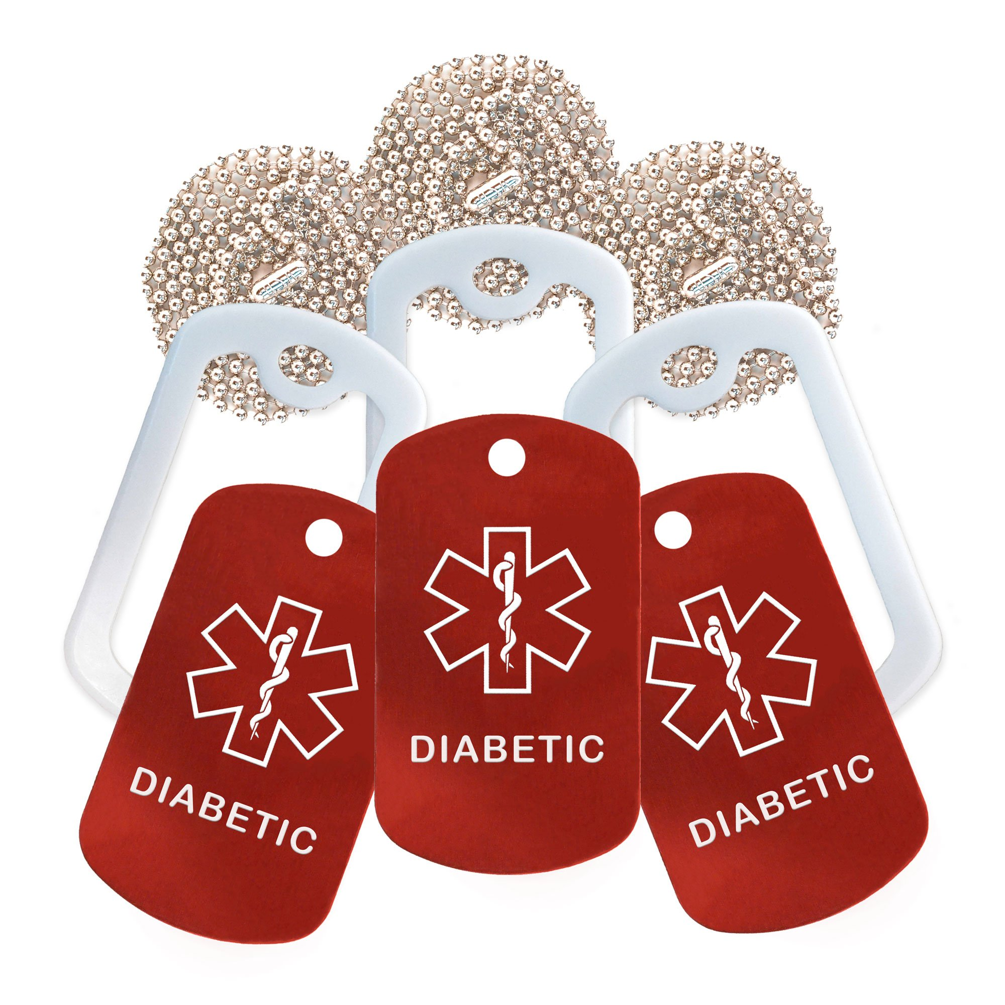 Diabetic Medical Alert ID Necklace - 3 Pack - Red Tag, White Silencer, and 30'' USA Chain - 154 Colors Choices