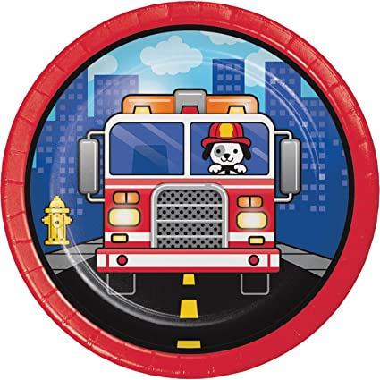 Amazon com | Club Pack of 96 Blue and Red Flaming Fire Truck