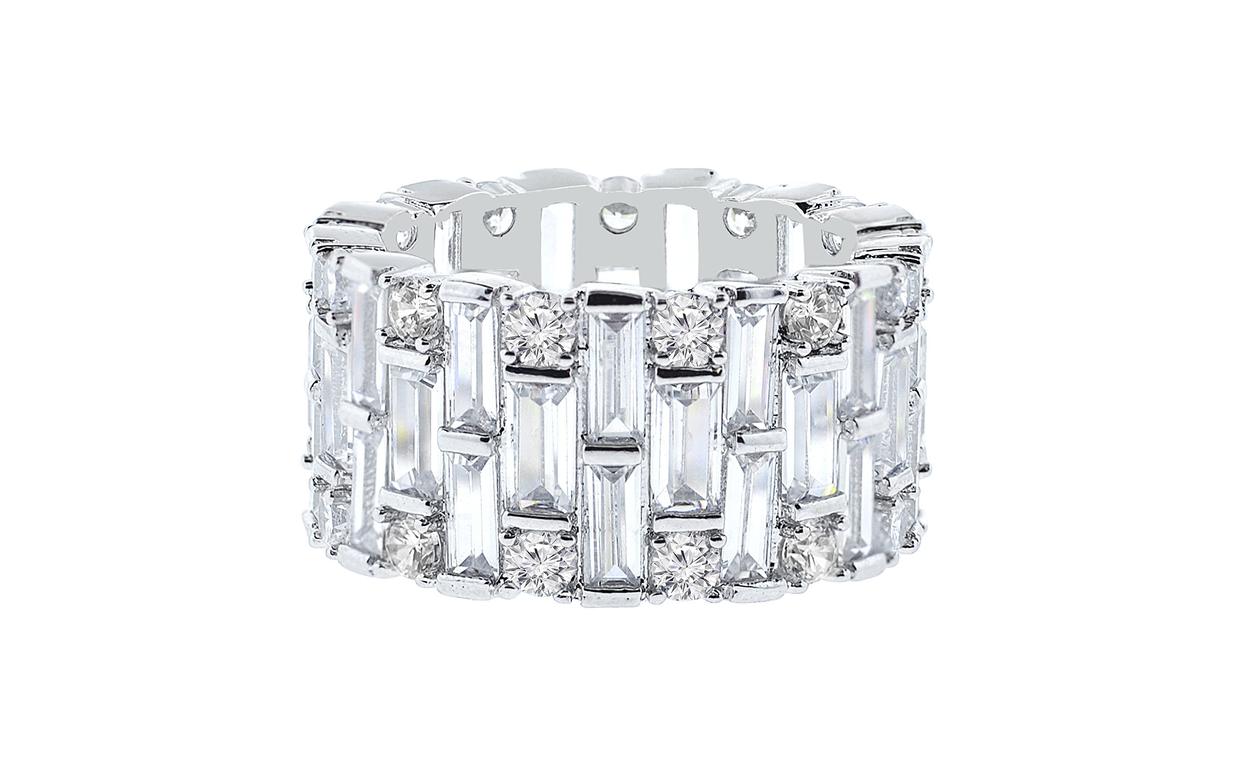 NYC Sterling Women Cubic Zirconia Round & Baguette Eternity Ring (7)