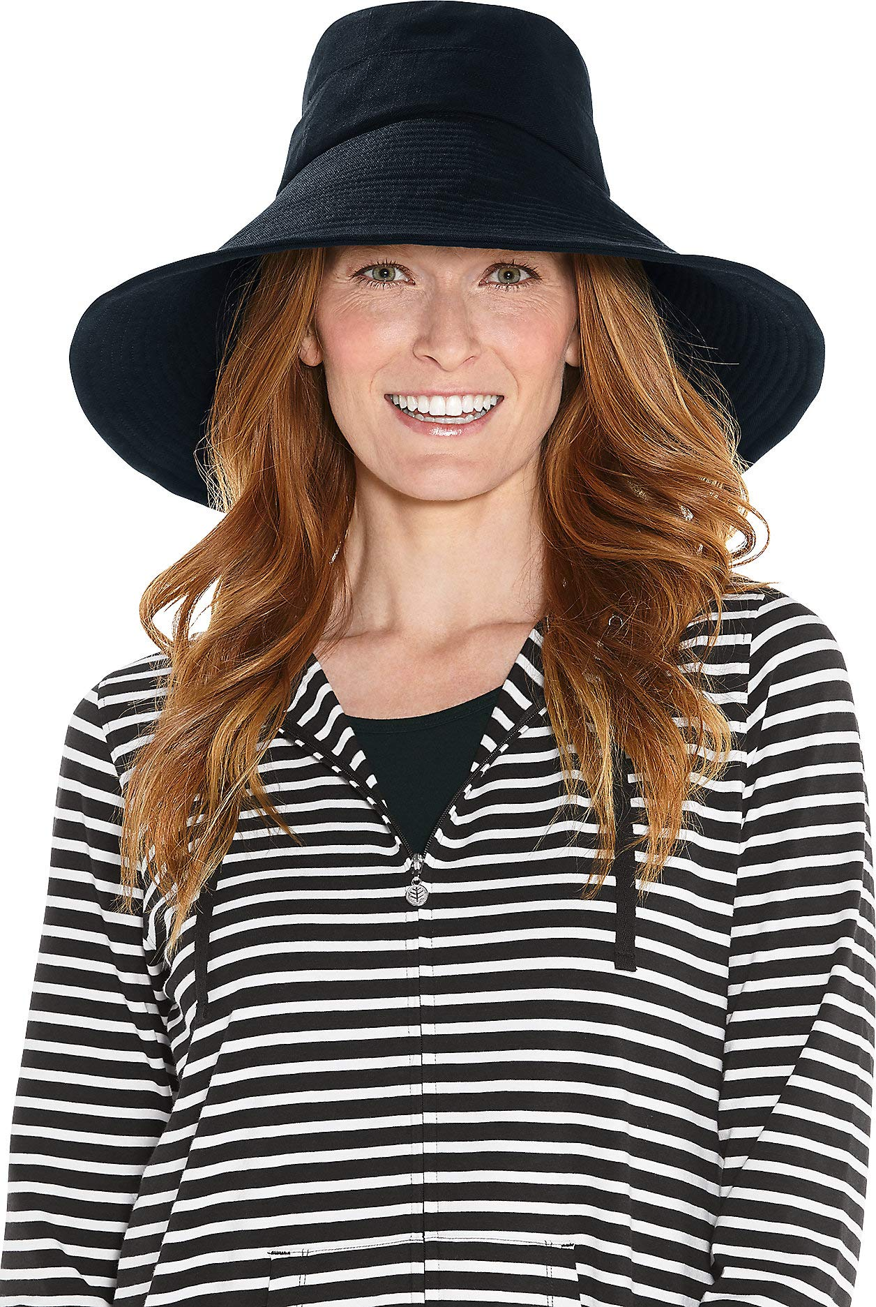 Coolibar UPF 50+ Women's Beach Hat - Sun Protective (One Size- Black)