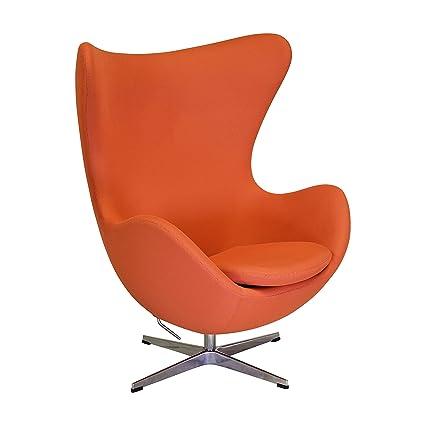 Amazoncom Arne Jacobsen Inspired Egg Swivel Chair In Orange Home