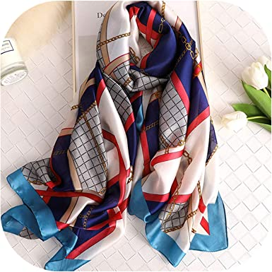 Plaid Summer Silk Scarf For Women Long Beach Fashion Wrap And Shawls For Ladies