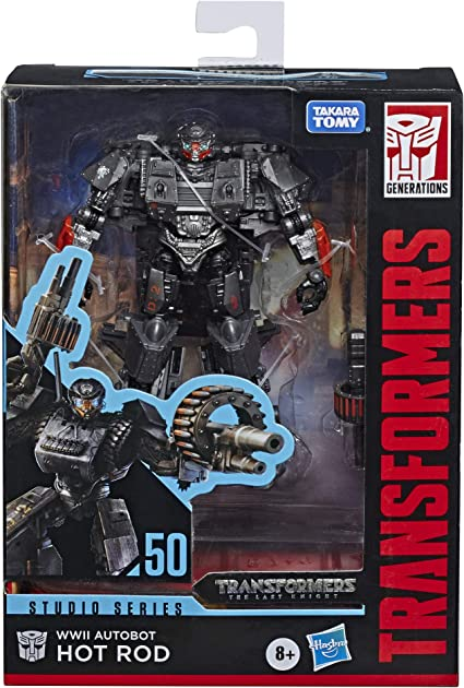 """Amazon.com: Transformers Toys Studio Series 50 Deluxe The Last Knight Movie  WWII Autobot Hot Rod Action Figure - Ages 8 & Up, 4.5"""": Toys & Games"""