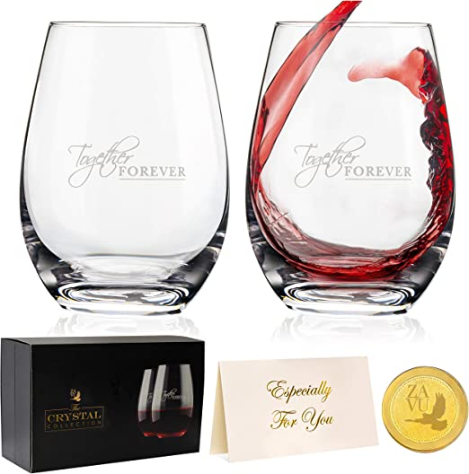 Amazon Com Anniversary Gift For Couple Crystal Stemless Wine Glasses Set Of 2 Precision Lead Free Crystal Hand Blown Large 22oz Complete Gift Set Engravable Gold Coin Ideal Wedding Gift Wine Glasses