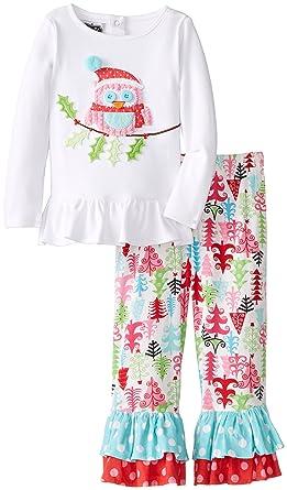 mud pie little girls christmas owl pant set multi - Mud Pie Christmas Pajamas