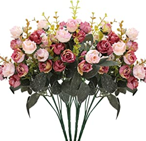 Luyue 7 Branch 21 Heads Artificial Silk Fake Flowers Leaf Rose Wedding Floral Decor Bouquet,Pack of 4 (Pink Coffee)