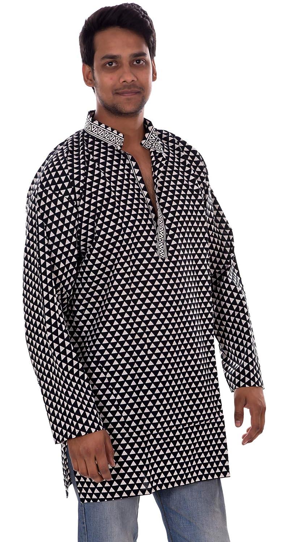 Lakkar Haveli Indian Men/'s Shirt Kurta 100/% Cotton Geometric Print Plus Size