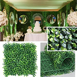 "· Petgrow · Realistic & Thick Artificial Hedge Boxwood Fence Privacy Screen Panels 20""x20"", UV Protection Fresh Faux Foliage Backdrop Wall Decor for Indoor Outdoor, 12 Pack"