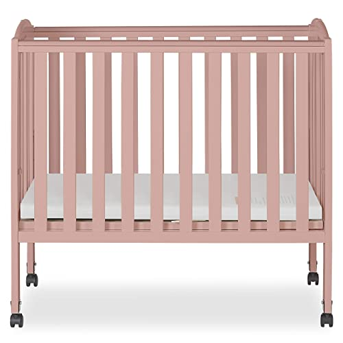 Dream On Me 2 in 1 Folding Portable Crib, Dusty Pink