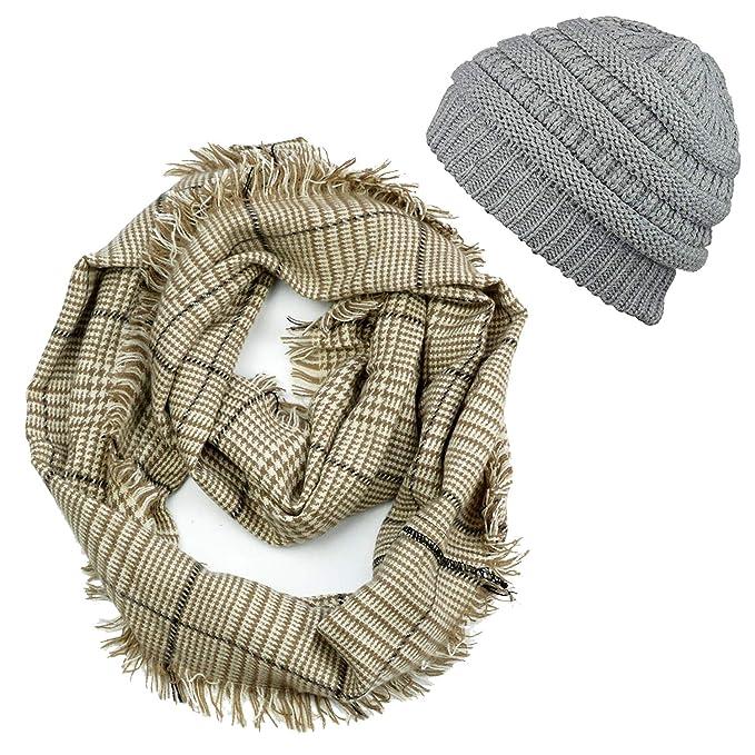 Plaid Infinity Scarf Beanie Hat Set - Plaid   Tartan Circle Scarves Winter  Chunky Knit Beanie 27096ae900a