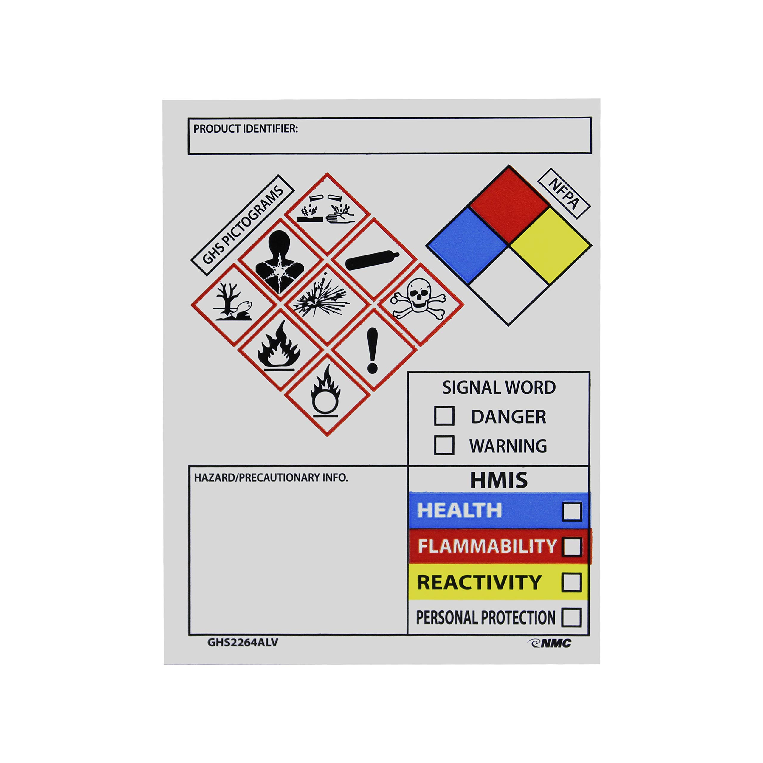 Nmc Ghs2264Alv Secondary Container Labels, Œproduct Identifier:, Hazard/Precautionary Info, Single Word, Hmis, 4 x 3, Adhesive Vinyl, Blue/Black/Red/Yellow On White (Pack Of 250) by National Marker