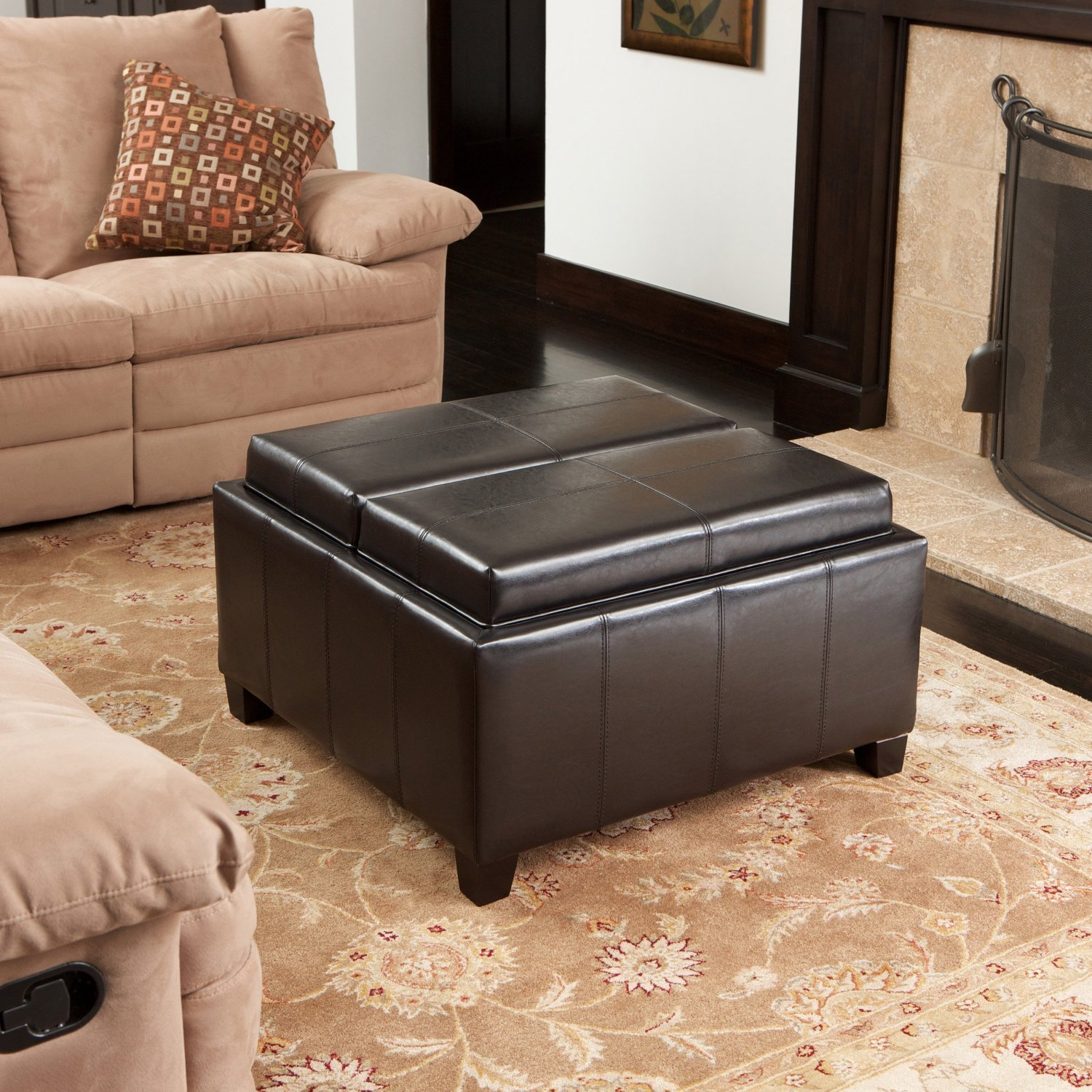Imtinanz Mansfield Leather Espresso Tray Top Storage Ottoman Two Flip-Over Lids As Serving Trays