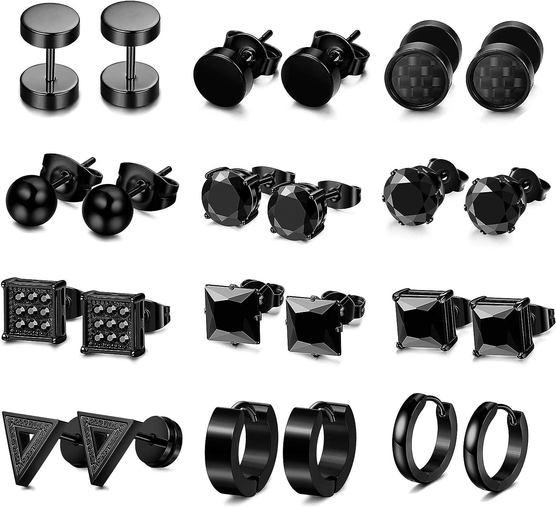 LOLIAS 12 Pairs Black Stud Earrings Hoop Earrings Set for Men Women Stainless Steel Huggie Earrings Piercing