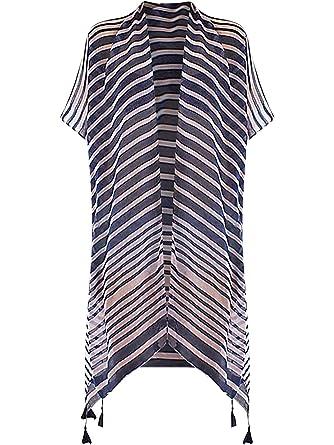 35ef2d762 Navy Blue & White Striped Lightweight Sheer Kimono Top at Amazon ...