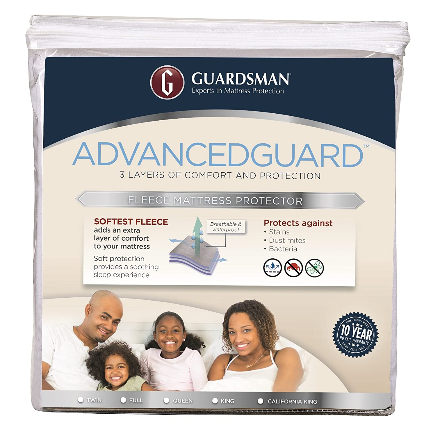 Guardsman AdvancedGuard Waterproof Mattress Protector - Full - 3 Layer Protection From Spills or Mishaps, Allergy Relief - 10 Year Warranty - Reusable(Packaging May Vary) Valspar 7977