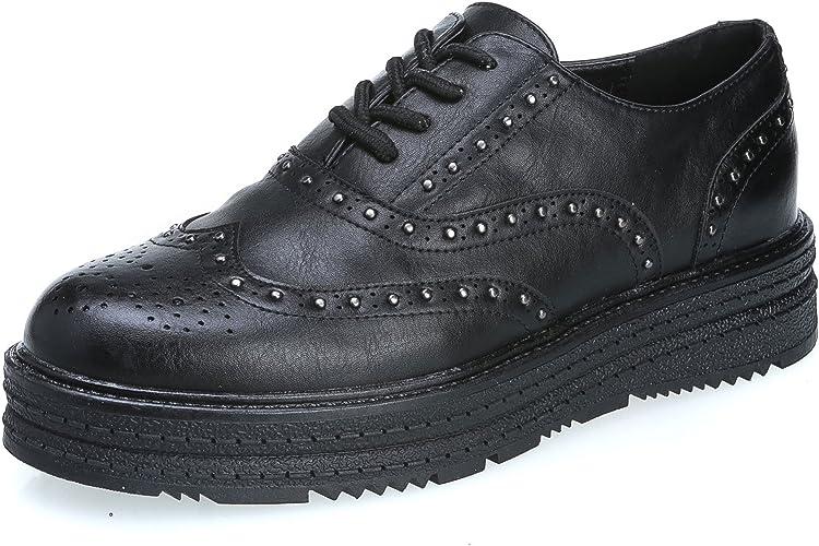 MFORSHOP scarpe donna mocassini francesine eco pelle STRINGATE borchie k1817-3