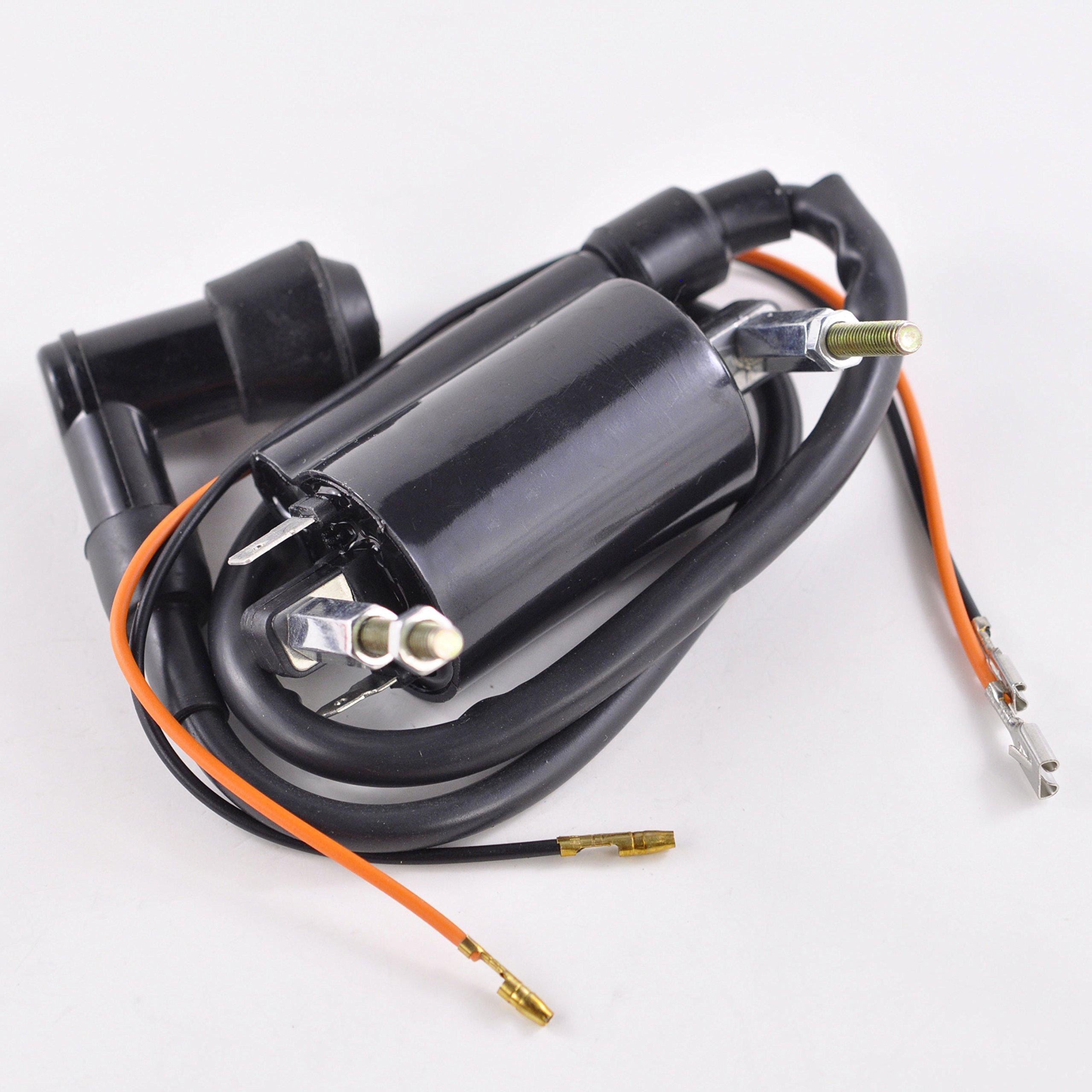 External Ignition Coil With Spark Plug Cap For Kawasaki KLF 300 Bayou B C 1988-2004 KLF300 KLF300C 4x4 OEM Repl.# 21121-1264 21160-1089 21121-1049