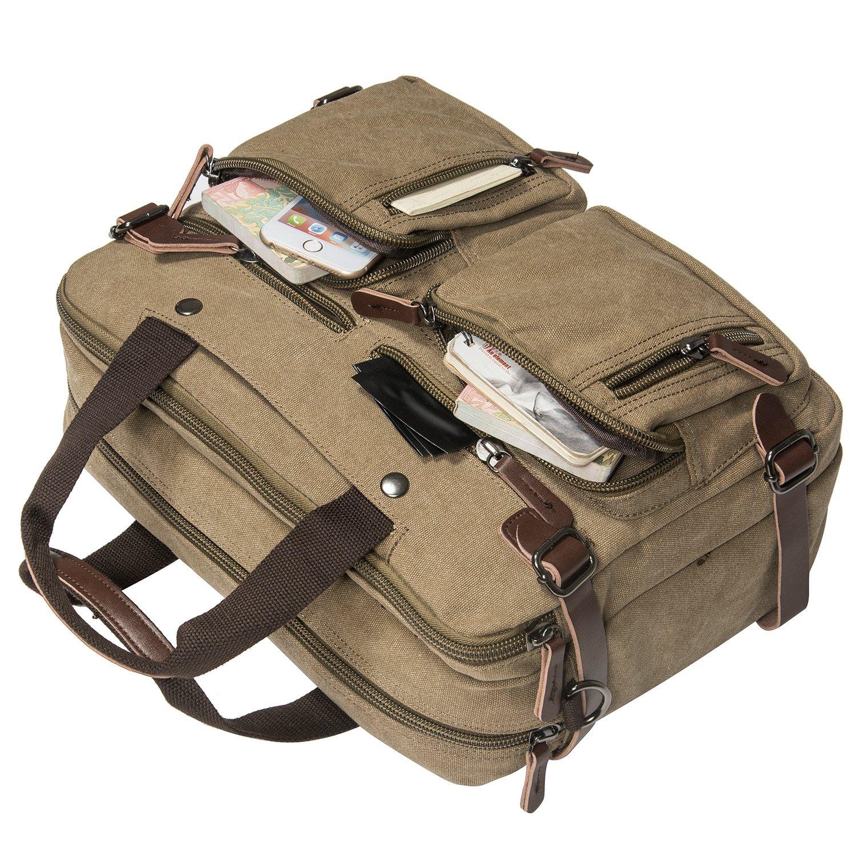 HIKA Vintage 3-Way Convertible Briefcase Laptop Backpack Messenger Bag Backpack-Vintage Khaki by HIKA (Image #5)