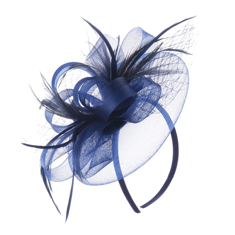 bluee83 MYCHARM Women Feather Mesh Net Fascinator Hat Hair Clip Cocktail Derby Race Royal Ascot