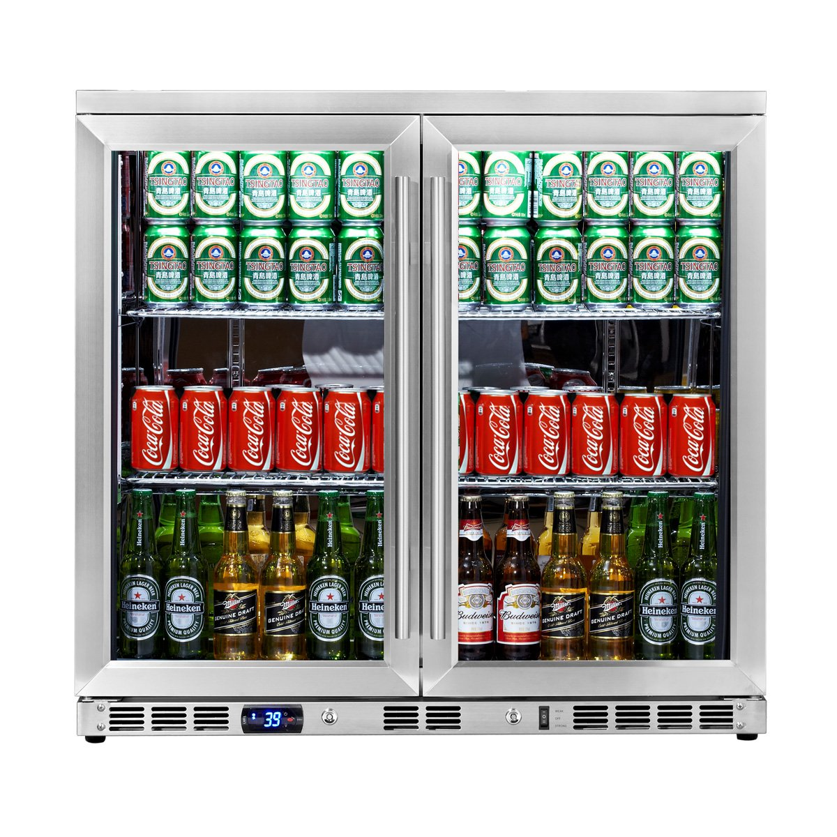 Com Kingsbottle 169 Can 2 Door Under Counter Beverage Cooler With Heating Glass Stainless Steel Appliances