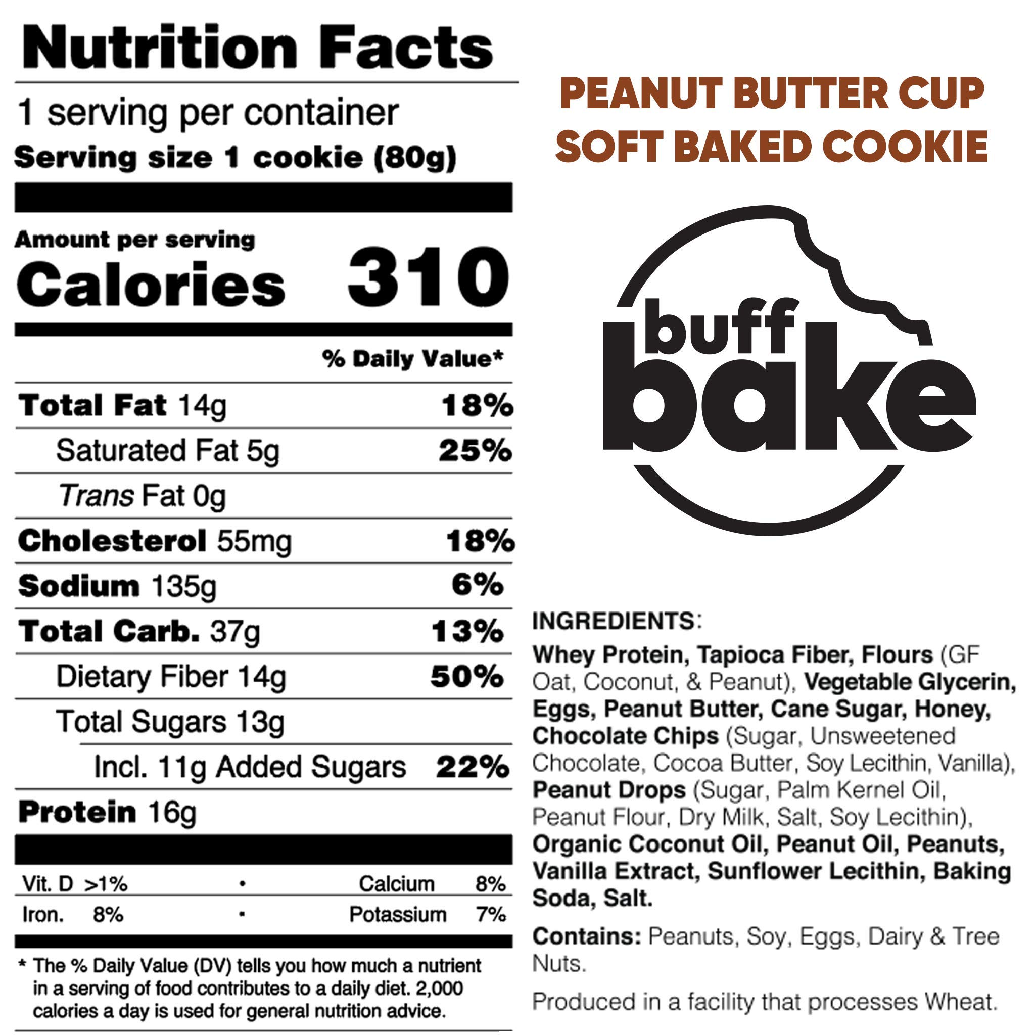 Buff Bake Protein Cookie | Peanut Butter Cup | Soft Baked | Gluten Free | Non-GMO Ingredients | 16g of Hormone-Free Whey Protein | (12Count, 2.82 oz) by Buff Bake (Image #5)