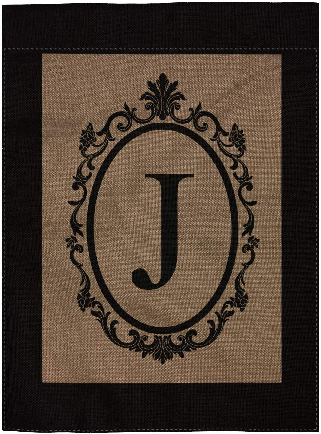 """pingpi J Garden Flag Burlap Monogram Flag Double Sided 12.5"""" X 18"""""""