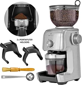ChefWave Conical Burr Coffee Grinder - 16 Grind Settings Electric Coffee Bean Grinder - Die Cast Aluminum Housing - Scoop, Cleaning Brush - Coarse for French Press, Fine for Espresso - 2 to 10 Cups