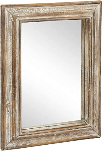 MyGift 16 x 12 Inch Vintage Brown Whitewashed Wooden Frame Wall Mounted Mirror Decor
