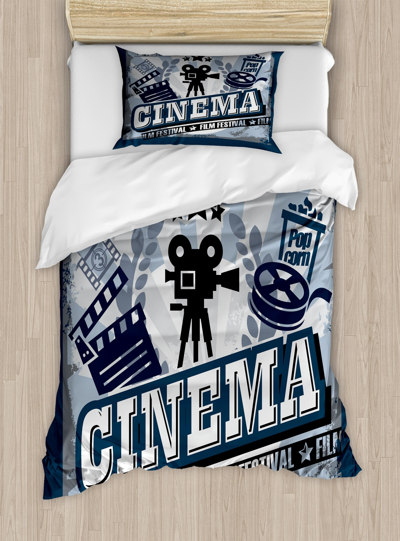 Ambesonne Movie Theater Twin Size Duvet Cover Set, Vintage Cinema Poster Design with Grunge Effect and Old Fashioned Icons, Decorative 2 Piece Bedding Set with 1 Pillow Sham, Blue Black Grey