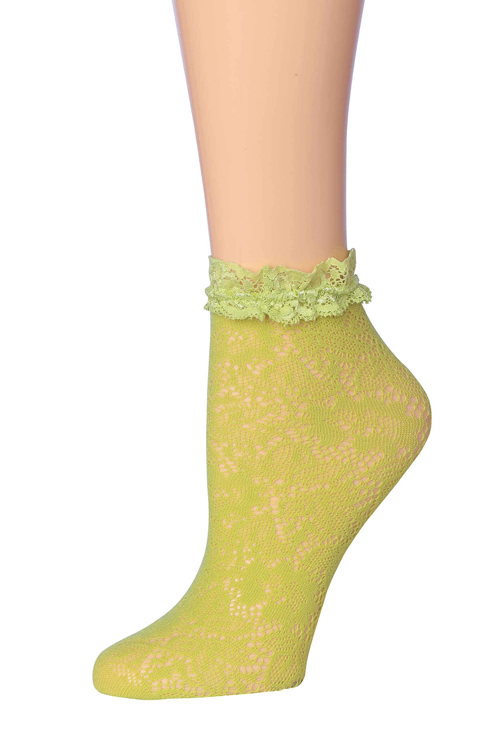 Isadora Paccini Women's Lace Anklet Socks LA02-Green